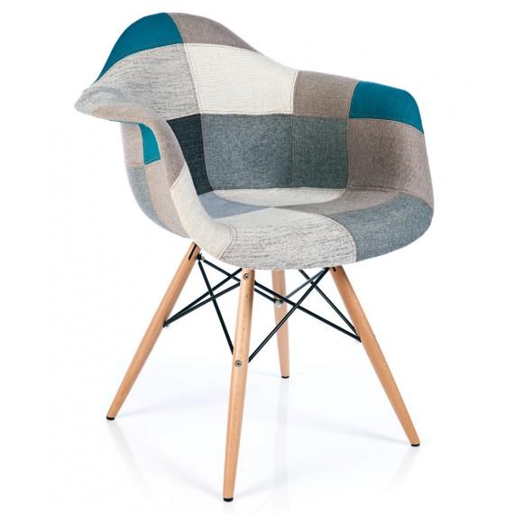 furmod Krzesło Patchwork XL Style Niebieski