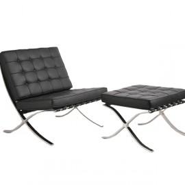 Kožená židle Barcelona s podnožkou