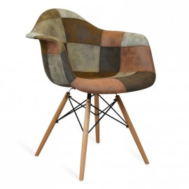 Furmod Patchworková židle XL hnědá