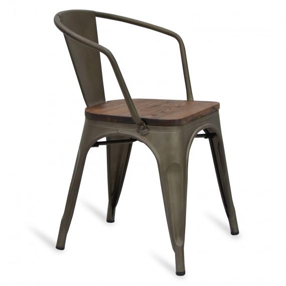 Stuhl Bistro Wood mit Armlehne Icon Möbel