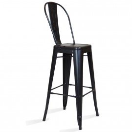 Průmyslová kovová stolička Bistro Style se zády