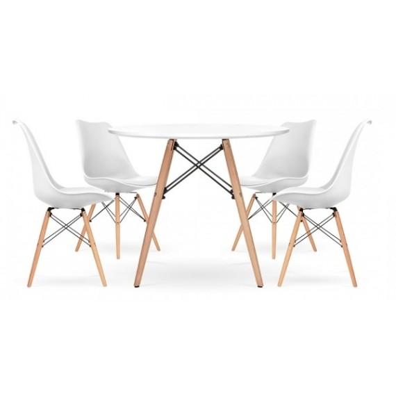 Pack 4 Stühle Shark und 1 Tisch Lemans 100 cm