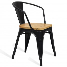 Dřevěná průmyslová kovová židle Bistro Arms