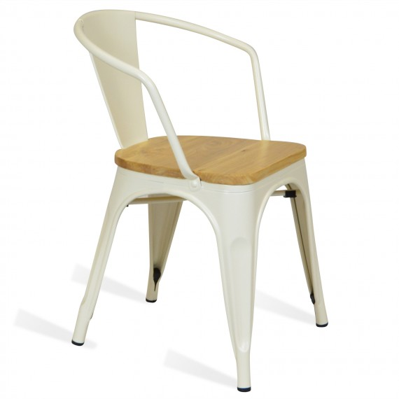 Bistro Stuhl aus Metall Arms Wood Icon Möbel