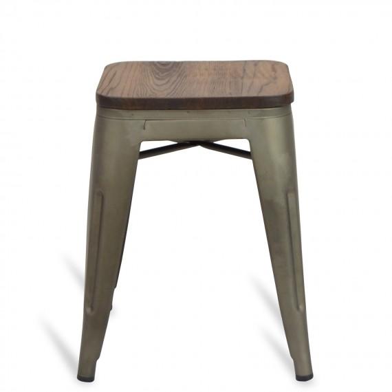 Niedrige Hocker mit Holzsitzfläche Classic Bistro Antique Icon Möbel