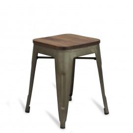 Nízká průmyslová stolička s dřevěným sedákem Bistro Antique
