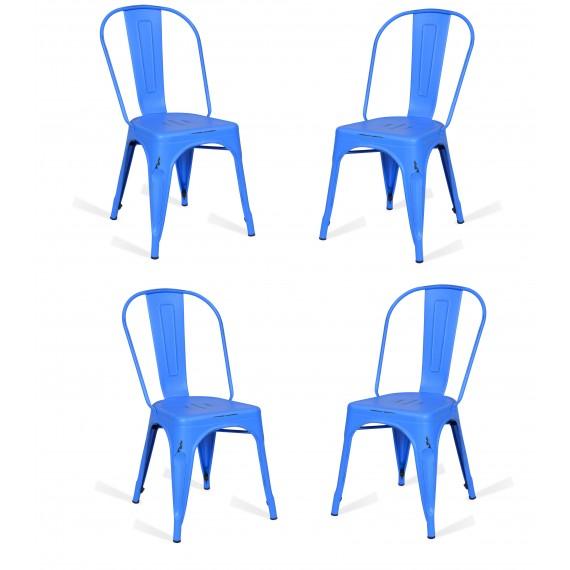 Pack 4 Stühle Bistro Blau Icon Möbel
