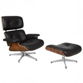 Replica Eames Lounge chair met chromen voet van <span class='notranslate' data-dgexclude>Charles & Ray Eames</span>