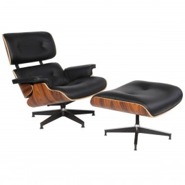 Replica van de Eames Lounge chair in synthetisch leer van Charles & Ray