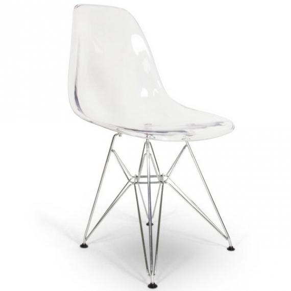 Przezroczyste metalowe krzesło James - Krzesła designerskie