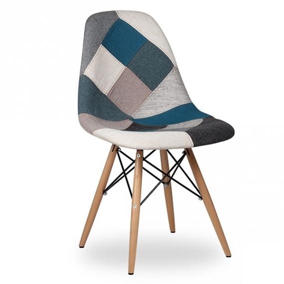 furmod Patchwork-stijl stoel blauw