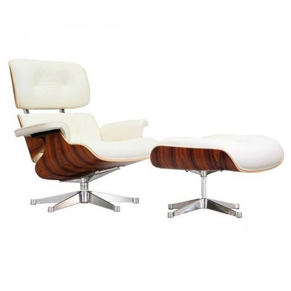 Replika krzesła Eames Lounge z chromowaną stopą autorstwa <span class='notranslate' data-dgexclude>Charles & Ray Eames</span>