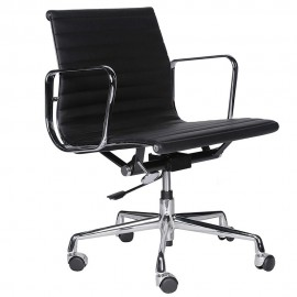 Krzesło biurowe Alu wykonane ze skóry licowej