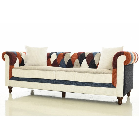 furmod Sofa Chesterfield Patchwork 3 Plazas