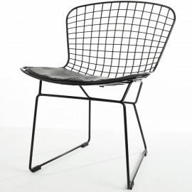 Replik des Bertoia Stuhls aus schwarzem Stahl von Harry Bertoia