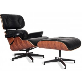 Replika křesla Eames Lounge z kůže Aniline Leather a Palissandro Wood od <span class='notranslate' data-dgexclude>Charles & Ray
