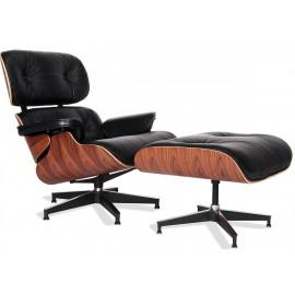 Charles & Ray Eames kopioitu Eames-lepotuoli aniliininahasta ja Palissandro Woodista.