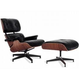 Replika křesla Eames Lounge Premium v provedení z anilinové kůže a ořechového dřeva