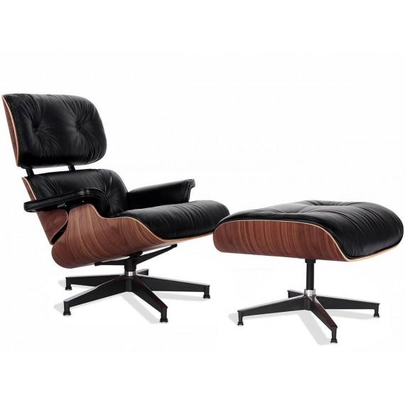 Replica Eames Lounge Chair Premium-Version aus Anilinleder und Walnussholz