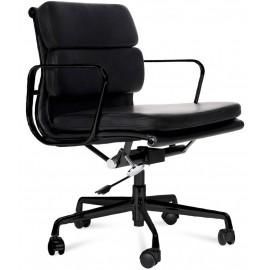 Bürostuhl Soft Pad All Black aus Vollnarbenleder