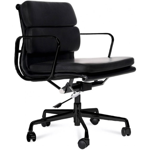 Replik des Soft Pad EA217 Bürostuhls aus schwarzem Aluminium