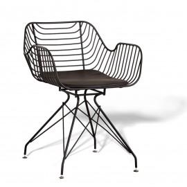 Meridian stoel in staal geschikt voor buiten