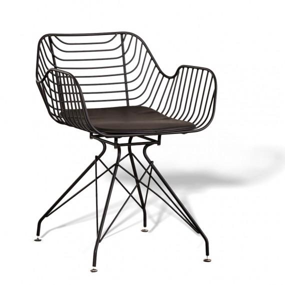 Meridian stol i stål lämplig för utomhusbruk