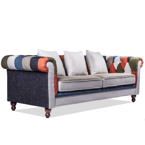 Sofa Chesterfield Patchwork3-Sitzer