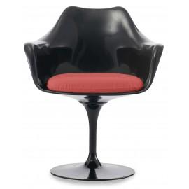Replica van de tulp fauteuil helemaal zwart met kussen
