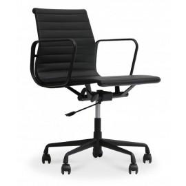 Krzesło biurowe Replica Alu w kolorze czarnym ze skóry kwiatowej