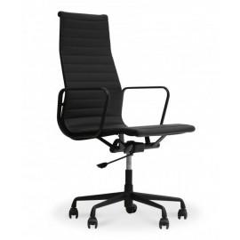 Replik des schwarzen Bürostuhls Alu EA119 HighBack aus Blumenleder, inspiriert vom Design von Charles & Ray Eames
