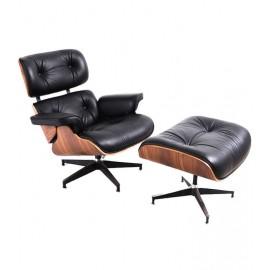 Replika fotela James Lounge ze skóry ekologicznej i drewna orzechowego