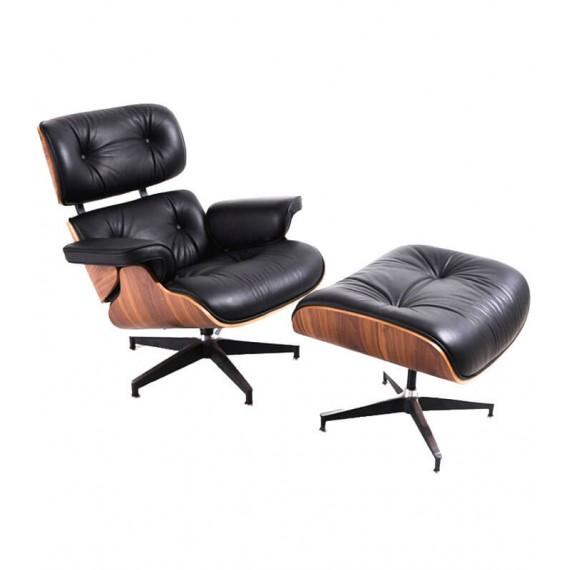 Replica James Lounge Chair aus Kunstleder und Walnussholz