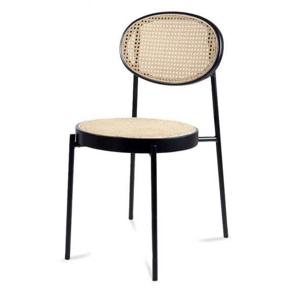 Preston Stuhl aus natürlichem Rattan und schwarz lackiertem Aluminium