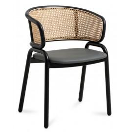 Morley Stuhl aus natürlichem Rattan und schwarz lackiertem Stahlsockel.