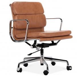 Replika krzesła biurowego EA217 z miękką wyściółką ze starzonej skóry vintage