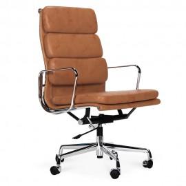 Replika krzesła biurowego EA219 z miękką wyściółką ze starzonej skóry vintage