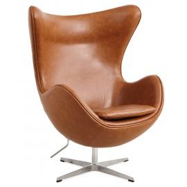 Replika fotela Egg Chair w stylu vintage z postarzanej skóry ekologicznej