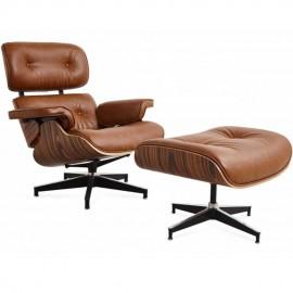 Replica Eames Lounge Chair EA219 aus Kunstleder im Used-Look
