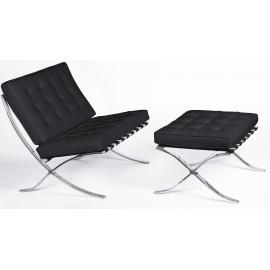 Barcelona Chair HQ s Otomanem z květinové kůže