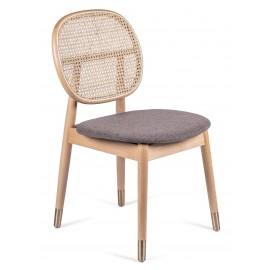 Krzesło Marsh w stylu Vintage z naturalnego rattanu i bawełnianej poduszki