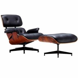 Lounge židle Lemans Lounge Chair vyrobená z lícové kůže a růžového dřeva