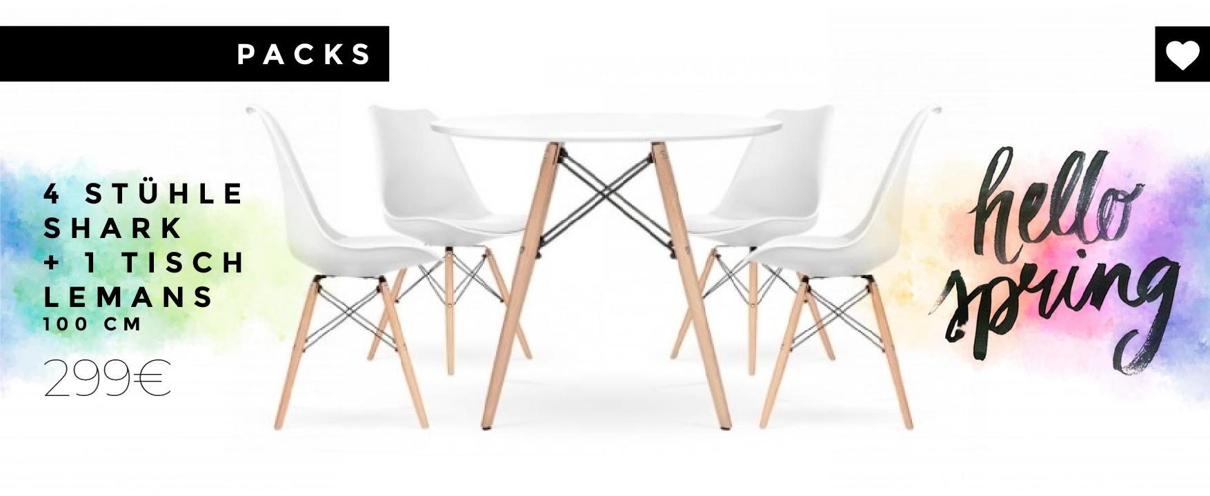 Kombination aus 4 Shark-Stühlen, inspiriert vom berühmten DSW-Stuhl